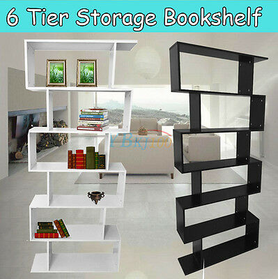 Living Room 6Tier Bookcase Display Storage Unit Wooden Bookshelf Cabinet S Shape