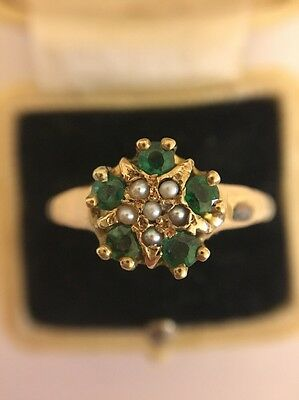Vintage Green Stone Set And Pearl Yellow Gold Unusual Cluster Ring