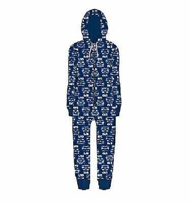 Geelong Cats Childrens Microfleece Hooded Pyjama Jumpsuit AFL Official