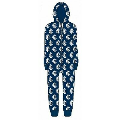 Carlton Blues Childrens Microfleece Hooded Pyjama Jumpsuit AFL Official