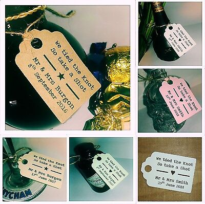 Personalised We Tied The Knot Take A Shot Wedding Favour Tags MINI Price Label