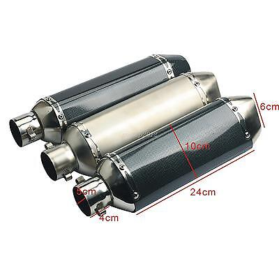 38-51mm Motorcycle Carbon Fiber Exhaust Muffler Pipe Removable Silencer 3 Style
