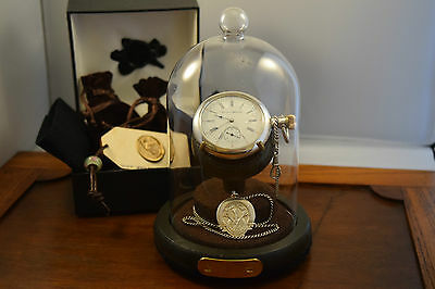 Antique Railroad  Hampden pocket watch serviced Solid Silver  Albert Chain  Dome