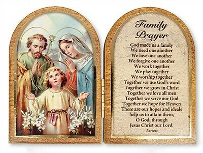 The Holy Family Jesus Mary Folding Wooden Plaque Pictures Candles Statues Listed