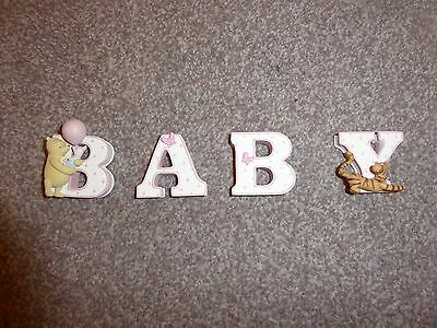 Disney Winnie The Pooh Fine Art Ceramic Pink BABY Letter Letters