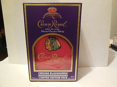 Crown Royal Limited Edition Chicago Blaclhawks Red Bag And Box New