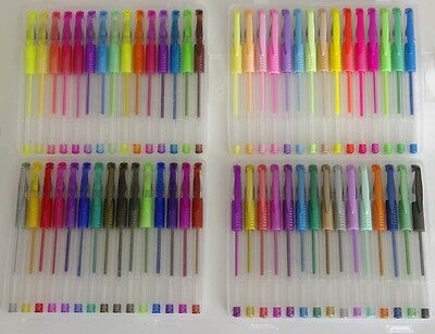 60 Pack of Quality Gel Pens with Soft Grips, Neon, Pastel, Metallic & Glitter