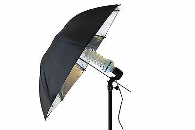 2x125W Photography Studio Umbrella Continuous Lighting Stand Bulb Kit White