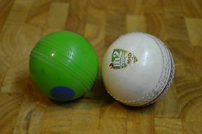 2 Kids Cricket Balls - Used Sport Equipment Toy - Green - Red & White