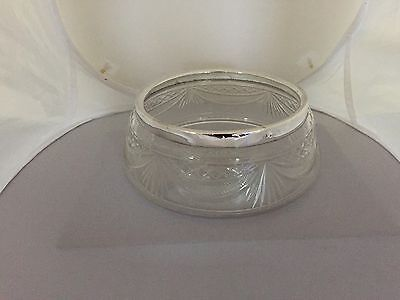 """Beautiful Cut Glass Large Bowl With A Solid Silver Banded Rim 7"""" Diameter"""