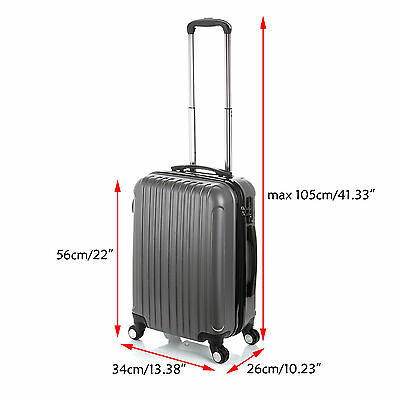 "20"" Luggage ABS Suitcase Trolley Hard Case Carry On Lightweight TSA Lock - Grey"