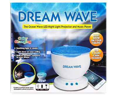 Dream Wave Relaxing Ocean Wave Light Projector LED  Light w/ Stereo