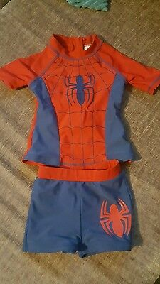 boys 2-3 spiderman swim costume outfit shorts and top