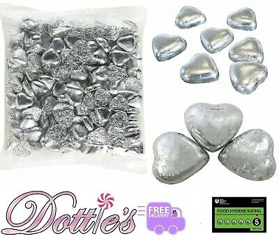 Silver Foiled Chocolate Hearts  Caramel Flavour Creme Wedding Favours 1Kg Bag