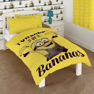 Despicable 'Powered By Bananas' Kids Cartoon Panel Single Bed Duvet Quilt Cover