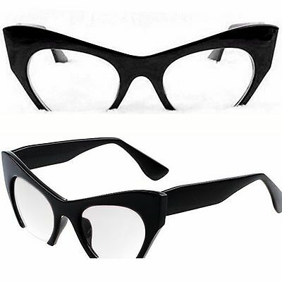 Half Frame Clear Lens Fashion Glasses Cat Eye Shape