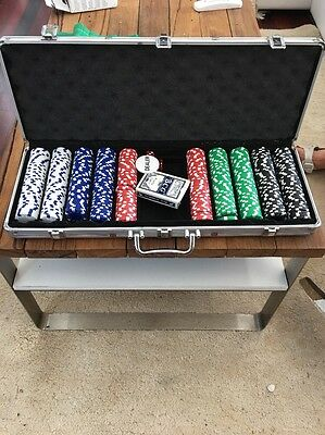 500pcs (? ) Professional poker Gamble set In Heavy Duty Aluminium Case, As New