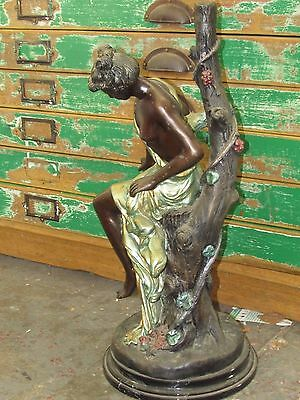Bronze Statue Roman Lady With Tree Hand Painted Heavy Metal Cast