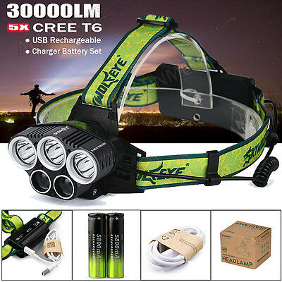 30000LM 5X XML T6 LED Headlamp USB Rechargeable 18650 Headlight Head Light Torch