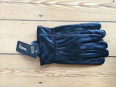 Men's Black Leather Thinsulate Gloves