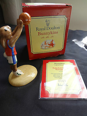 Royal Doulton Bunnykins 1999 - Basketball -  Certificate And Box Included -