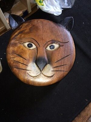 Hand carved Wooden Childrens Cat Face Stool Vintage