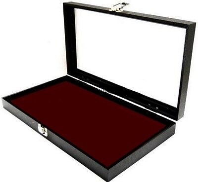 Glass Lid Burgundy Pad Display Box Case Militaria Medals Pins Jewelry Knife