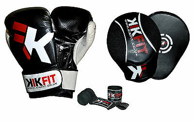 KIKFIT Focus Pads & Boxing Gloves Set Hand Wraps MMA Hook & Jab Punch Mitts UFC