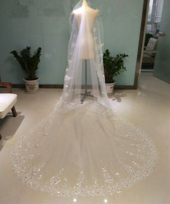 3M Long Luxury Lace Edge with rhinestone Wedding Bridal Veil Cathedral +Comb
