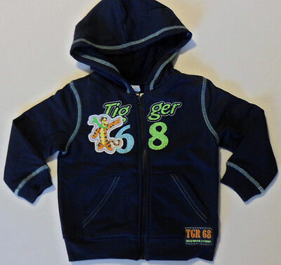 Size 1, 2 - Disney Tigger Boys Fleece Jacket with Hoodie and long sleeves