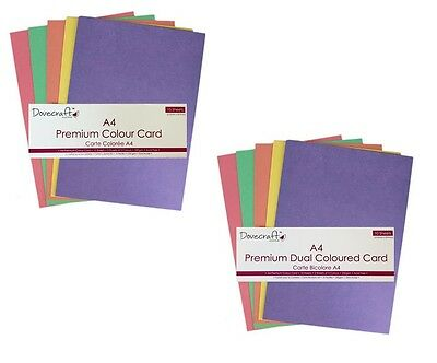 Dovecraft A4 Premium Colour or Dual Coloured Card Pack - Assorted Colours