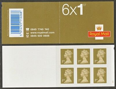 Mb4 Royal Mail 6X First Class  Stamps Booklet Cylinder W1