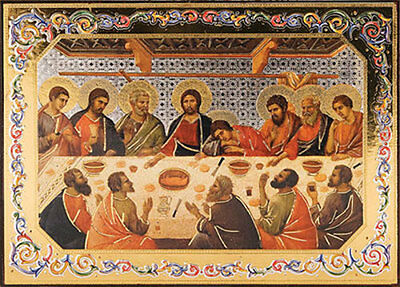 Last Supper Jesus & Disciples Wooden Plaque Picture - Statues And Candles Listed