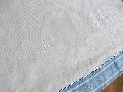 "Vintage 31"" White Linen Damask Towel ~ 1 1/2"" Blue & White Border"