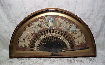 Antique 19th Century Victorian Hand Painted Silk Figural Folding Fan Framed
