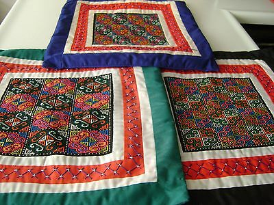 """Lot of 3 Panama 15"""" Embroidered Zippered Pillow Case Set (1986)"""