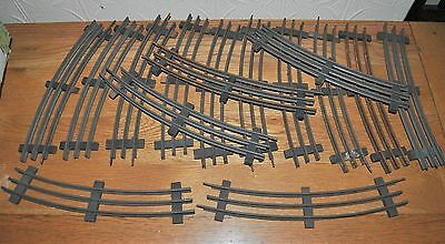 15 X Vintage O Gauge 3 Rail Track Curved Sections. Wooden Sleepers. 31.5cm