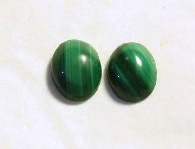 malachite 8x6 mm coppia