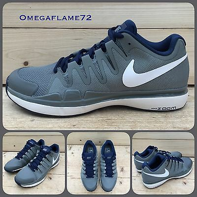 SZ 10.5 Nike Zoom Vapor 9.5 Tour QS Grey, Navy 631458-014 Federer Tennis Shoe