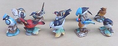 FRANKLIN PORCELAIN 10 Garden Birds of the World Small Figurines