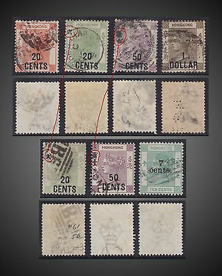 1885 to 1891 HONG KONG SMALL LOT USED QUEEN VICTORIA OVERPRINT EASY TO TROPE