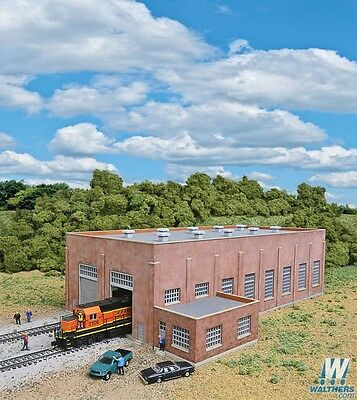 3266 Walthers Cornerstone Two-Stall 130' Brick Diesel House Kit N Scale