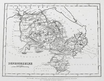 OLD ANTIQUE MAP WALES DENBIGHSHIRE / CARDIGANSHIRE c1860's by J HEYWOOD