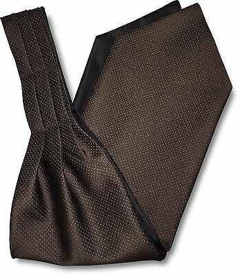 Mens Brown 'Under Shirt' Cravat Tie Royal Ascot with White Micro Dots