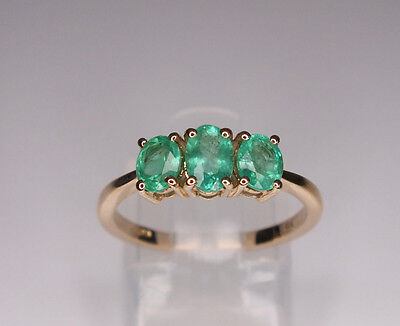 Natural Colombian Emerald Trilogy Ring 9K Yellow Gold 1.00Ct Size M