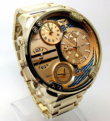100c Men Mr Daddy Wrist Watch Gold Band Big Multi Time oversized Chronograp Dial