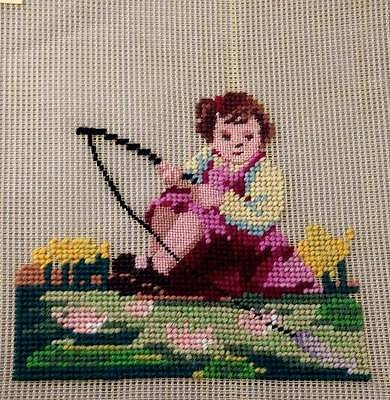 Vtg Girl Fishing Preworked Wool Needlepoint Canvas 14x14 NOS Wool-Tex