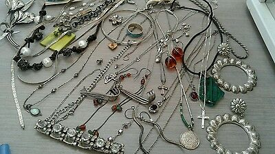 308 g sterling silver lot jewelry. pre owned condition. stones, beads, vintage+