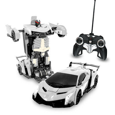 RC Toy Transforming Robot Remote Control Sports Car 1/22 Scale (silver) 27 Mhz