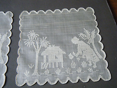 18c antique hand embroidered chinese table toppers hankies raw silk